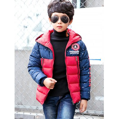 Boys Color Block Letter Print Puffer Jacket