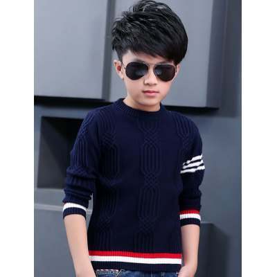 Boys Jacquard Crew Neck Pullover Sweater