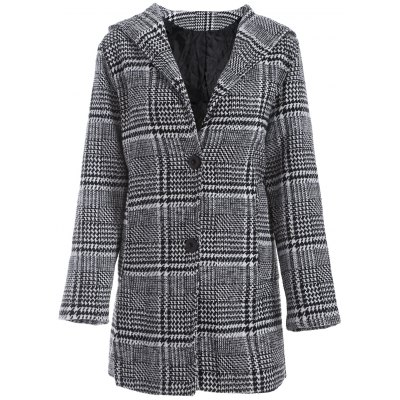 Pom Ball Houndstooth Pattern Plus Size Hooded Coat