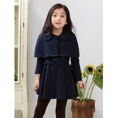 Girls Long Sleeve Wool Dress With Bolero Jacket