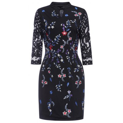 Floral Hand  Embroidered Fitted Dress