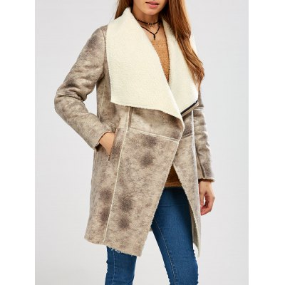 Fleece Lining Suede Look Shawl Coat
