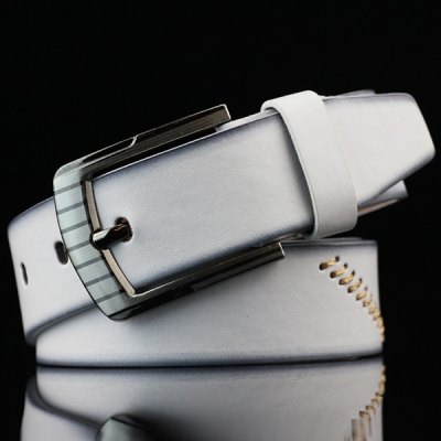 Pin Buckle Sewing Thread Wide Casual Belt