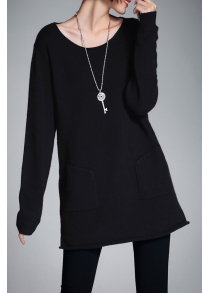 Scoop Neck Long Tunic Sweater
