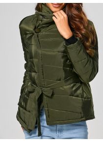 Self Tie Asymmetric Short Down Jacket