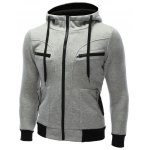 cheap Zipper Embellished Patchwork Hoodie with Pockets