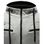 Zipper Embellished Patchwork Hoodie with Pockets for sale