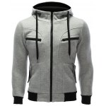 Zipper Embellished Patchwork Hoodie with Pockets