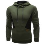 cheap Color Splicing PU Leather Embellished Hoodie