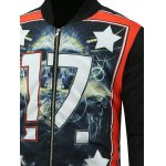 Skull Stand Collar Zip Up Padded Jacket deal