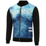 Stand Collar Seawater Print Zip Up Padded Jacket
