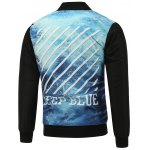 cheap Stand Collar Seawater Print Zip Up Padded Jacket