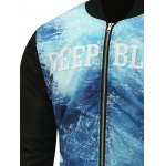Stand Collar Seawater Print Zip Up Padded Jacket deal