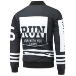cheap Striped Zip Up Graphic Padded Jacket