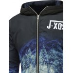 Forest Print Zip Up Hooded Padded Jacket deal