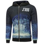 Forest Print Zip Up Hooded Padded Jacket
