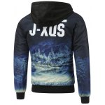 cheap Forest Print Zip Up Hooded Padded Jacket