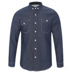 Back Pleated Pocket Chambray Button Down Shirt