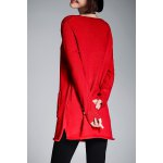cheap Scoop Neck Long Tunic Sweater