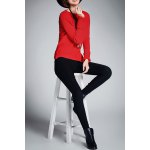 cheap Crew Neck Ribbed Asymmetric Sweater