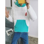 Kangaroo Pocket Color Block Quilted Pullover Hoodie for sale