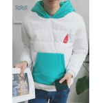 cheap Kangaroo Pocket Color Block Quilted Pullover Hoodie