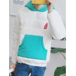 Kangaroo Pocket Color Block Quilted Pullover Hoodie deal