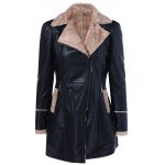 Faux Fur Collar Slim Fit Leather Jacket