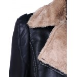 Faux Fur Collar Slim Fit Leather Jacket deal