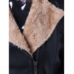 Faux Fur Collar Slim Fit Leather Jacket for sale