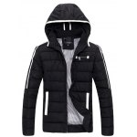 Striped Hooded Quilted Zip Jacket