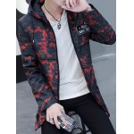 cheap Zip Up Patch Design Hooded Camo Coat