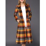 cheap Wool Checked Long Skirted Coat