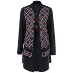 cheap Plaid Trim Button Fly Coat