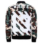 cheap Snap Front Stand Collar Camo Graphic Jacket