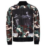 Snap Front Stand Collar Camo Graphic Jacket