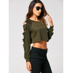 cheap Long Sleeve Ripped  Cropped Sweatshirt