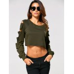 Long Sleeve Ripped  Cropped Sweatshirt deal