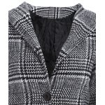 Pom Ball Houndstooth Pattern Plus Size Hooded Coat deal