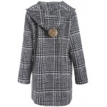 cheap Pom Ball Houndstooth Pattern Plus Size Hooded Coat