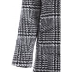 best Pom Ball Houndstooth Pattern Plus Size Hooded Coat
