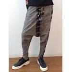 cheap Tie Dyed Button Embellished Drawstring Harem Pants