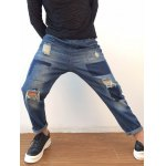 Applique Tapered Distressed Harem Jeans deal