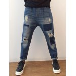 cheap Applique Tapered Distressed Harem Jeans