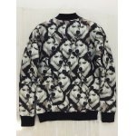cheap 3D Animal Print Stand Collar Snap Front Jacket
