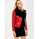 cheap Faux Fur Collar Slim Fitted Biker Jacket
