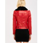 Faux Fur Collar Slim Fitted Biker Jacket for sale