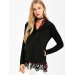 cheap Asymmetrical Zip Hooded Jacket with Lace Trim