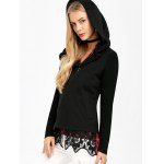 Asymmetrical Zip Hooded Jacket with Lace Trim