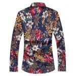 cheap Buttoned Floral Printing Long Sleeve Casual Shirt